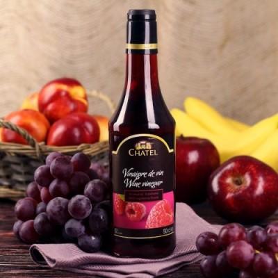 Уксус винный красный с ароматом малины CHATEL, 6%, 0,5 л